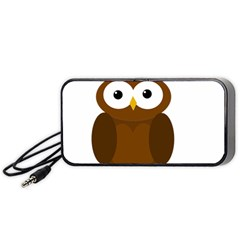 Cute Transparent Brown Owl Portable Speaker (black)  by Valentinaart