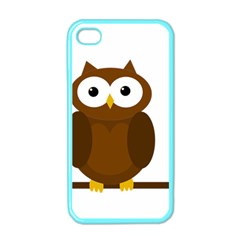 Cute Transparent Brown Owl Apple Iphone 4 Case (color) by Valentinaart