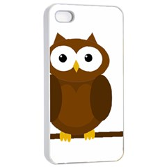 Cute Transparent Brown Owl Apple Iphone 4/4s Seamless Case (white) by Valentinaart