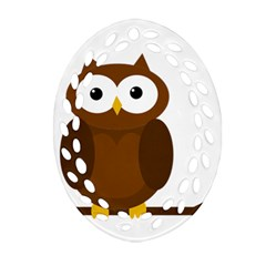 Cute Transparent Brown Owl Oval Filigree Ornament (2 Side)  by Valentinaart