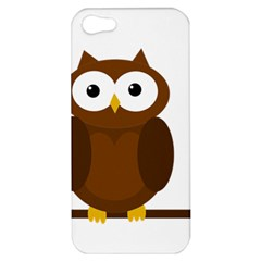 Cute Transparent Brown Owl Apple Iphone 5 Hardshell Case by Valentinaart