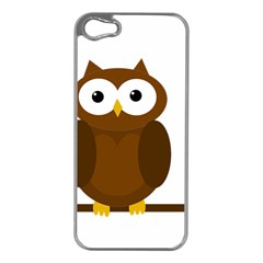 Cute Transparent Brown Owl Apple Iphone 5 Case (silver) by Valentinaart