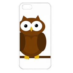 Cute Transparent Brown Owl Apple Iphone 5 Seamless Case (white) by Valentinaart