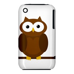 Cute Transparent Brown Owl Apple Iphone 3g/3gs Hardshell Case (pc+silicone) by Valentinaart