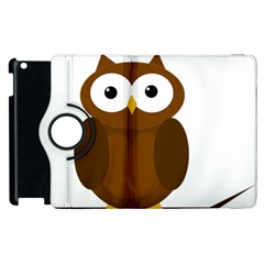 Cute Transparent Brown Owl Apple Ipad 2 Flip 360 Case by Valentinaart