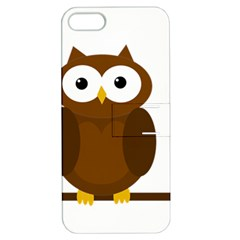 Cute Transparent Brown Owl Apple Iphone 5 Hardshell Case With Stand by Valentinaart