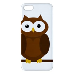 Cute Transparent Brown Owl Apple Iphone 5 Premium Hardshell Case by Valentinaart