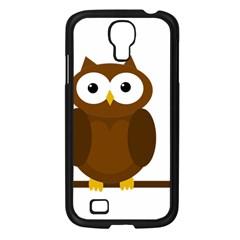 Cute Transparent Brown Owl Samsung Galaxy S4 I9500/ I9505 Case (black) by Valentinaart