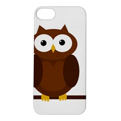 Cute Transparent Brown Owl Apple Iphone 5s/ Se Hardshell Case by Valentinaart