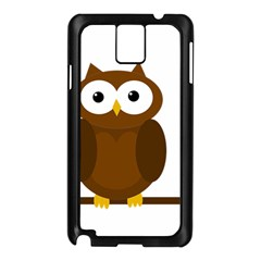Cute Transparent Brown Owl Samsung Galaxy Note 3 N9005 Case (black) by Valentinaart