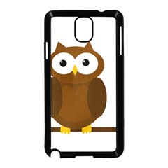 Cute Transparent Brown Owl Samsung Galaxy Note 3 Neo Hardshell Case (black) by Valentinaart