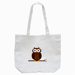 Cute Transparent Brown Owl Tote Bag (white) by Valentinaart