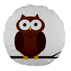 Cute Transparent Brown Owl Large 18  Premium Flano Round Cushions by Valentinaart