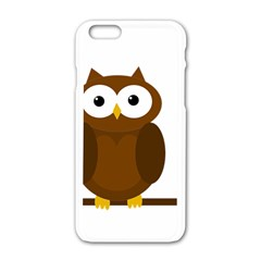 Cute Transparent Brown Owl Apple Iphone 6/6s White Enamel Case by Valentinaart