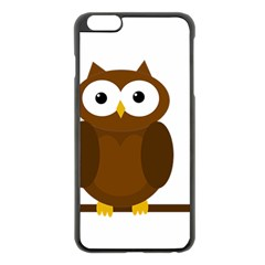 Cute Transparent Brown Owl Apple Iphone 6 Plus/6s Plus Black Enamel Case by Valentinaart