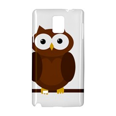 Cute transparent brown owl Samsung Galaxy Note 4 Hardshell Case by Valentinaart