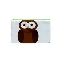 Cute Transparent Brown Owl Cosmetic Bag (xs) by Valentinaart