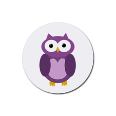 Purple Transparetn Owl Rubber Round Coaster (4 Pack)  by Valentinaart