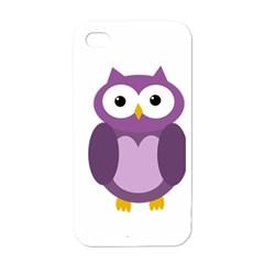 Purple Transparetn Owl Apple Iphone 4 Case (white) by Valentinaart