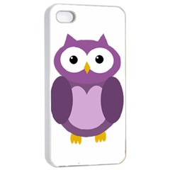 Purple Transparetn Owl Apple Iphone 4/4s Seamless Case (white) by Valentinaart