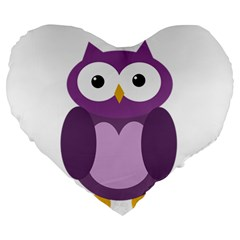 Purple Transparetn Owl Large 19  Premium Flano Heart Shape Cushions by Valentinaart