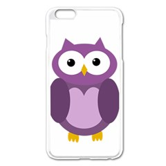 Purple Transparetn Owl Apple Iphone 6 Plus/6s Plus Enamel White Case by Valentinaart