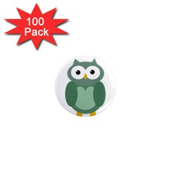 Green Cute Transparent Owl 1  Mini Magnets (100 Pack)  by Valentinaart
