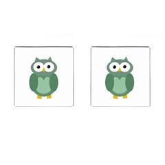 Green Cute Transparent Owl Cufflinks (square) by Valentinaart