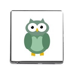 Green Cute Transparent Owl Memory Card Reader (square) by Valentinaart