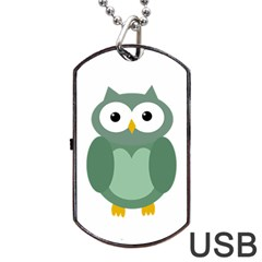 Green Cute Transparent Owl Dog Tag Usb Flash (one Side) by Valentinaart
