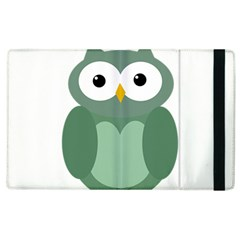 Green Cute Transparent Owl Apple Ipad 3/4 Flip Case by Valentinaart