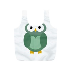 Green Cute Transparent Owl Full Print Recycle Bags (s)  by Valentinaart