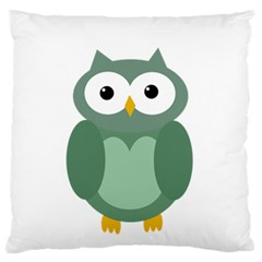 Green Cute Transparent Owl Large Flano Cushion Case (two Sides) by Valentinaart