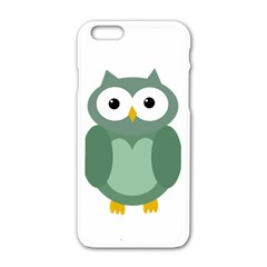 Green Cute Transparent Owl Apple Iphone 6/6s White Enamel Case by Valentinaart