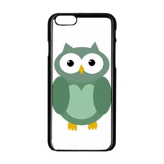 Green Cute Transparent Owl Apple Iphone 6/6s Black Enamel Case by Valentinaart