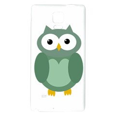 Green Cute Transparent Owl Galaxy Note 4 Back Case by Valentinaart