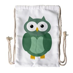 Green Cute Transparent Owl Drawstring Bag (large) by Valentinaart