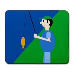 Fisherman Large Mousepads by Valentinaart