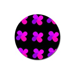 Purple Flowers Magnet 3  (round) by Valentinaart