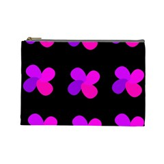 Purple Flowers Cosmetic Bag (large)  by Valentinaart
