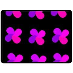 Purple Flowers Fleece Blanket (large)  by Valentinaart