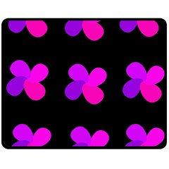 Purple Flowers Fleece Blanket (medium)  by Valentinaart