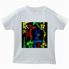 Colorful Abstract Pattern Kids White T Shirts by Valentinaart