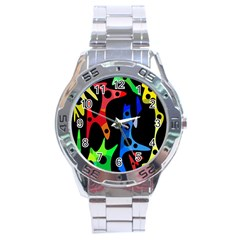 Colorful Abstract Pattern Stainless Steel Analogue Watch by Valentinaart