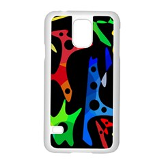Colorful Abstract Pattern Samsung Galaxy S5 Case (white) by Valentinaart