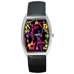 Colorful Pattern Barrel Style Metal Watch by Valentinaart