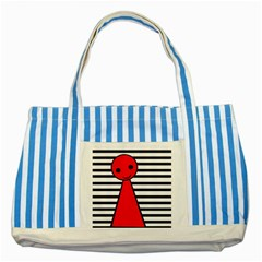 Red Pawn Striped Blue Tote Bag by Valentinaart