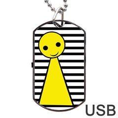 Yellow Pawn Dog Tag Usb Flash (one Side) by Valentinaart