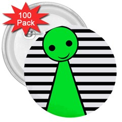 Green Pawn 3  Buttons (100 Pack)  by Valentinaart