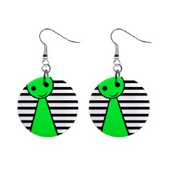 Green Pawn Mini Button Earrings by Valentinaart